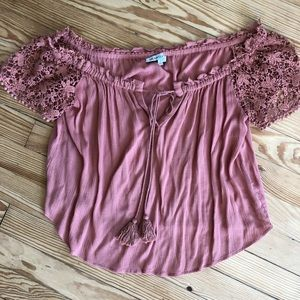 Lace crochet off the shoulder top anthropologie